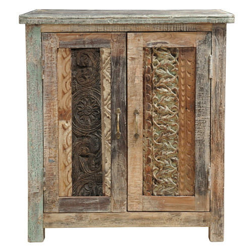 Shabby Chic Carved Wood Block Cabinet