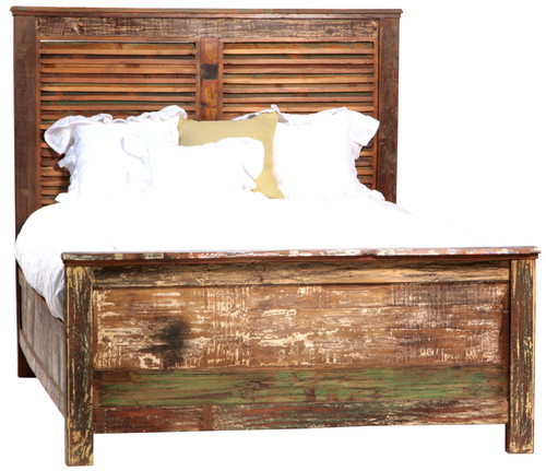 Shabby Chic Queen Size Panel Bed Frame Zin Home