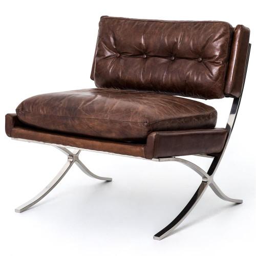 Barcelona Heathrow Vintage Cigar Leather Lounge Chair