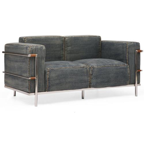 colins blue denim love seat zin home. Black Bedroom Furniture Sets. Home Design Ideas