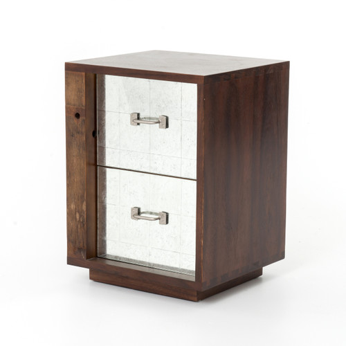 Bina Reclaimed Wood Mirrored Nightstand   Left