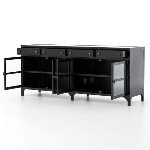 Bon ... Shadow Box Industrial Black Metal TV Media Cabinet ...