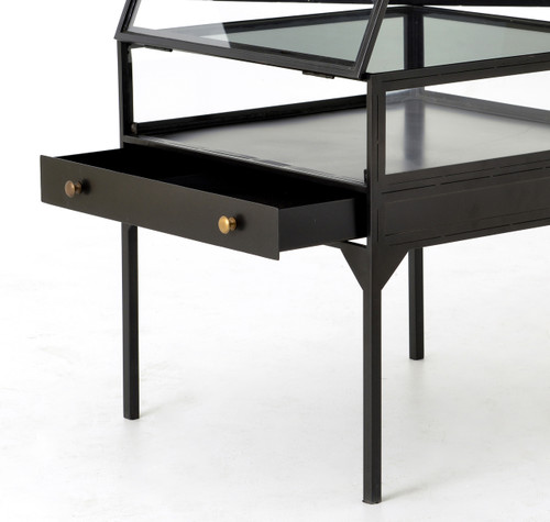 Shadow Box Industrial Metal And Glass Side Table Zin Home - Shadow box side table