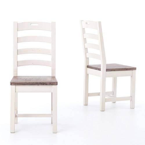 Coastal Cottage Ladder Back Dining Chair White Zin Home