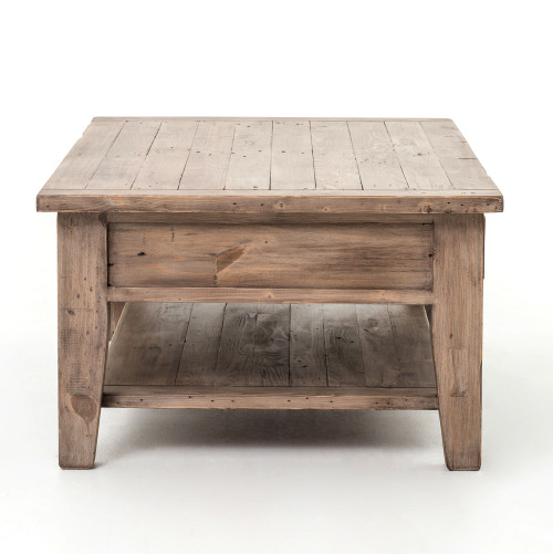 ... Coastal Solid Rustic Wood Coffee Table With Drawers ...