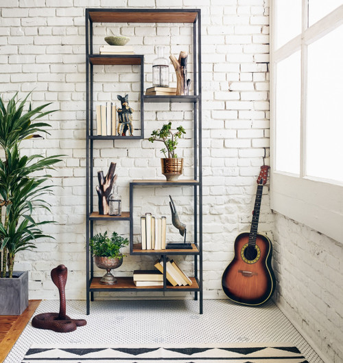 Geometric Reclaimed Wood And Iron Bookcase 84