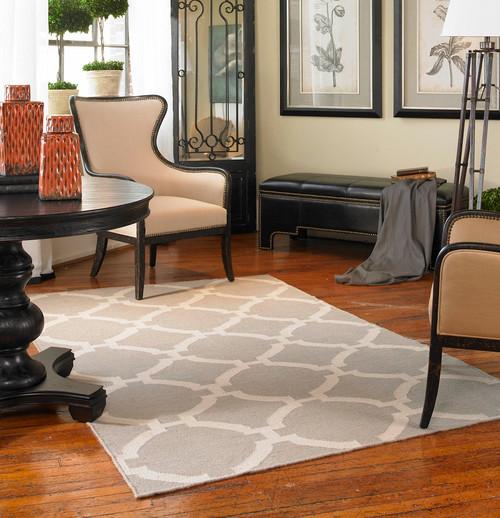 Modern Lattice Gray Wool Area Rugs Zin Home
