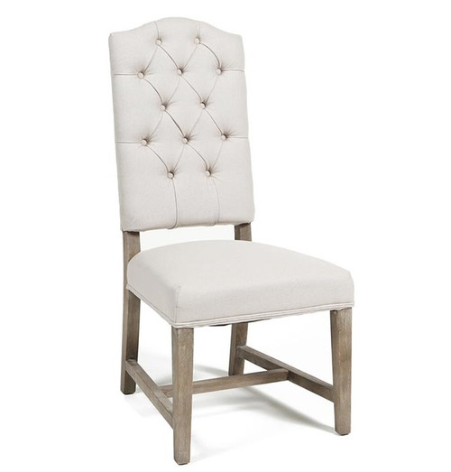 Luxe Linen Upholstered Tufted Dining Armchair: Ava Camelback Tufted Linen Dining Chair