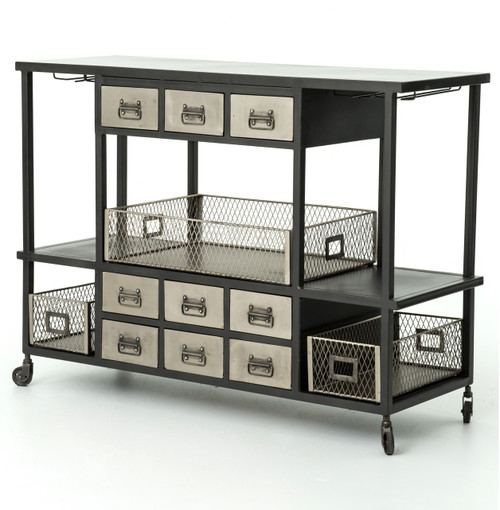 Antiqued nickel industrial rolling bar cart sideboard for Country living 500 kitchen ideas style function charm