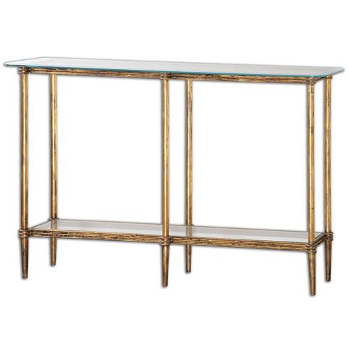 Elenio Bright Gold Leaf Glass Console Table; Art Deco Glass Console Sofa  Tables ...