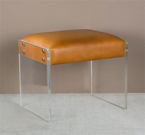 Aiden Leather Vanity Stool Ottoman With Acrylic Legs Zin
