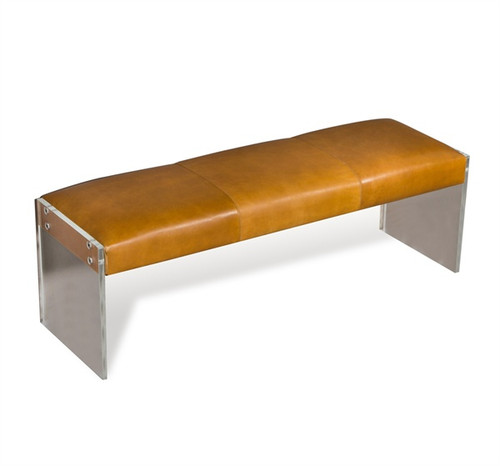 ... Aiden Tan Leather Lucite Bench