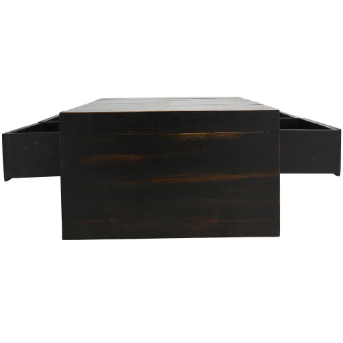 White Reclaimed Wood Coffee Table With Drawers: Burnished Black Reclaimed Pine Wood Coffee Table With