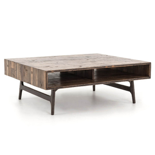 Phebe Modern Oak Timber Coffee Table Square Timber Top: Rustic Reclaimed Wood Coffee Tables