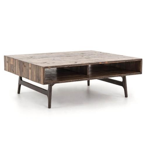 "weaver antiqued brass clad + oak wood coffee table 50"" | zin home Wood Coffee Table"