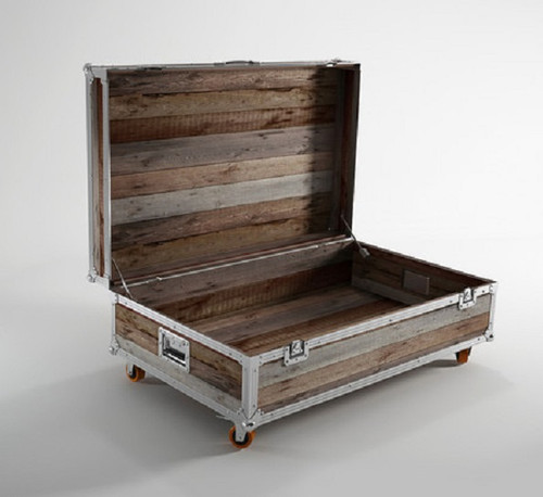 Industrial Storage Coffee Table Review: Industrial Loft Reclaimed Teak Small Trunk Coffee Table