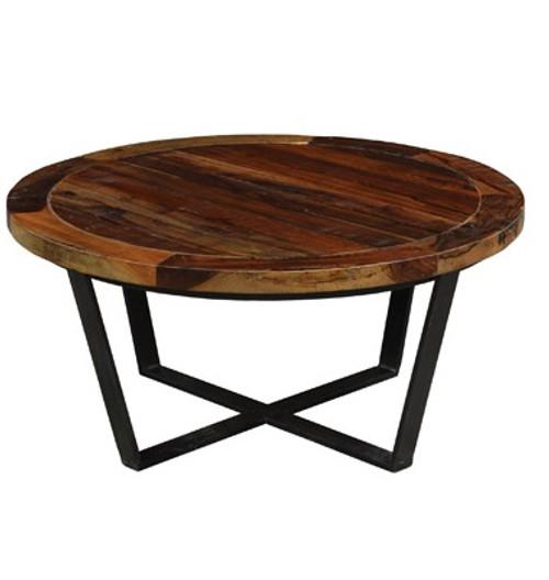 Loft Geometric Metal Base Round Wooden Coffee Table