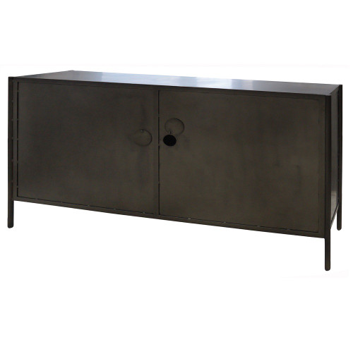 Metal Media Console Sideboard Black Iron Cabinet With Glass Doors Waxed Dining Buffet