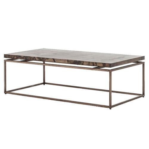 Deon Industrial Coffee Table: Roman Box Frame Industrial Iron Coffee Table