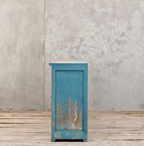 Van Thiel Distressed Blue Painted Large Sideboard With 8