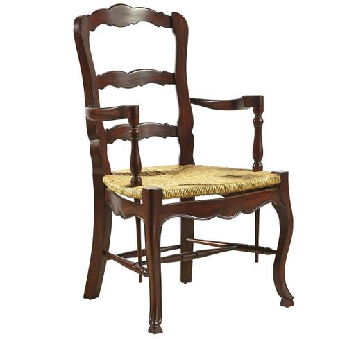French Country Mahogany Ladderback Walnut Arm Chair