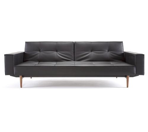 Bon Mid Century Modern Splitback Black Leather Convertible Sleeper Sofa ...