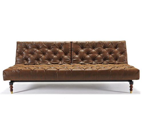 ... Oldschool Vintage Leather Chesterfield Sofa Bed Retro Legs ...