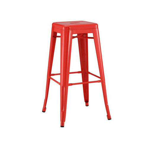 French Industrial style Metal BarStools in RED