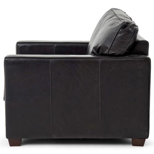 Charmant ... Larkin Vintage Black Distressed Leather Armchair ...