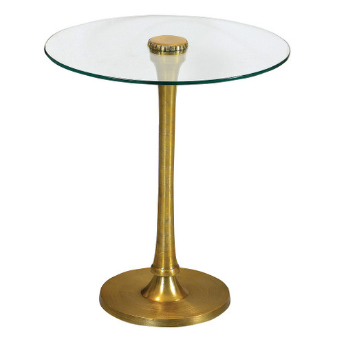 Marlow Mani Side Table With Glass Top and Brushed Brass