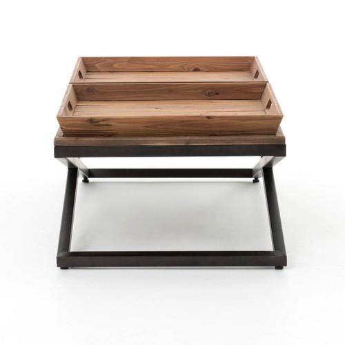 Jax X Base Industrial Rectangular Lift Top Coffee Tables