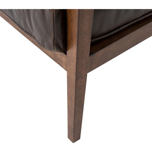 Laurent Wood Frame Brown Leather Lounge Club Chair | Zin Home