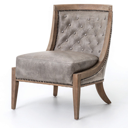 Livingroom Leather Slipper Chair In Grey Leather ...