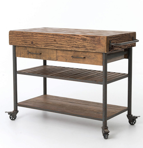 Industrial Reclaimed Wood Kitchen Island Cart On Wheels