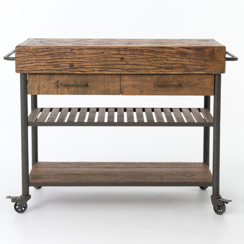 Wood And Metal Industrial Kitchen Cart: Industrial Reclaimed Wood Kitchen Island Cart On Wheels