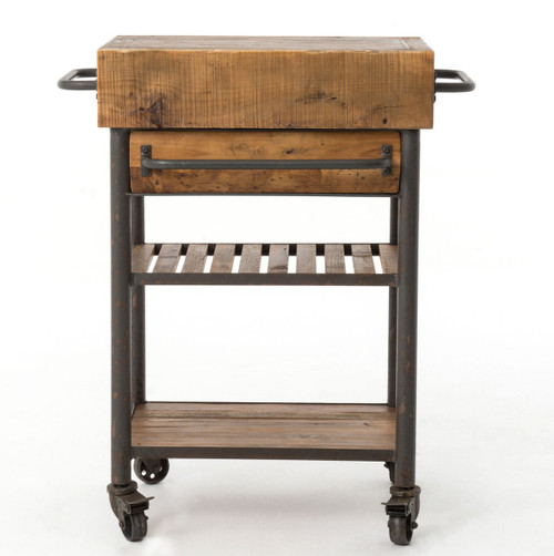 ... Kershaw Rustic Chunky Reclaimed Wood Iron Single Drawer Kitchen Island  Cart ...