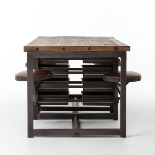 ... VIntage Industrial Work Table Desk With Attached Chairs ...
