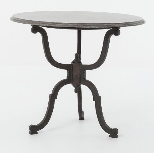 French Industrial Iron Bluestone Bistro Round Pedestal
