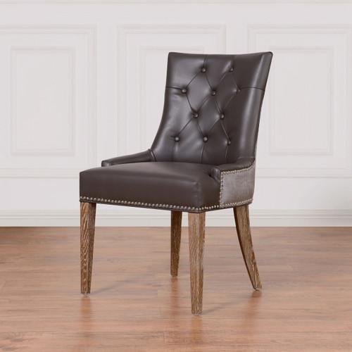 Navy Velvet Anneau Dining Chair: Uptown Navy Velvet + Leather Dining Side Chair