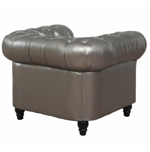 ... Zahara Silver Leather Chesterfield Chair Sale ...