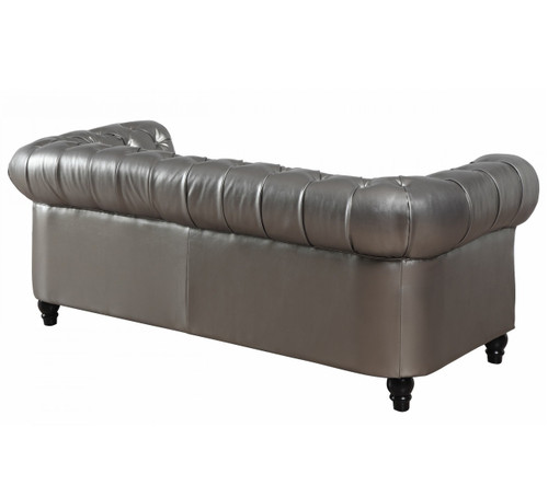 ... Zahara Silver Leather Chesterfield Sofa Sale ...