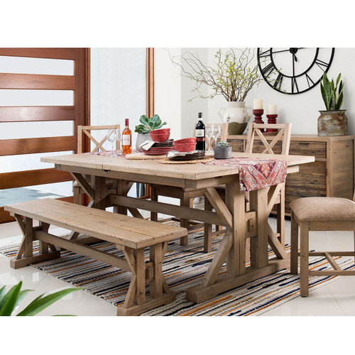 Coastal Natural Wood Trestle Extension Dining Table 96\