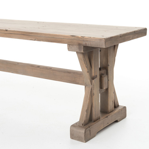Dining Unfinished Wood Trestle Bench International: Coastal Rustic Solid Wood Trestle Dining Room Bench