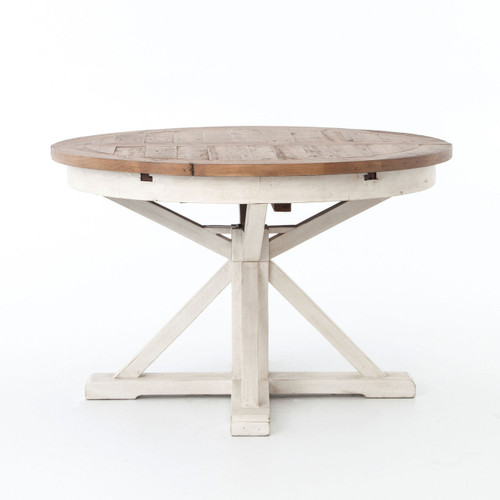 Cintra Reclaimed Wood White Expandable Round Dining Table
