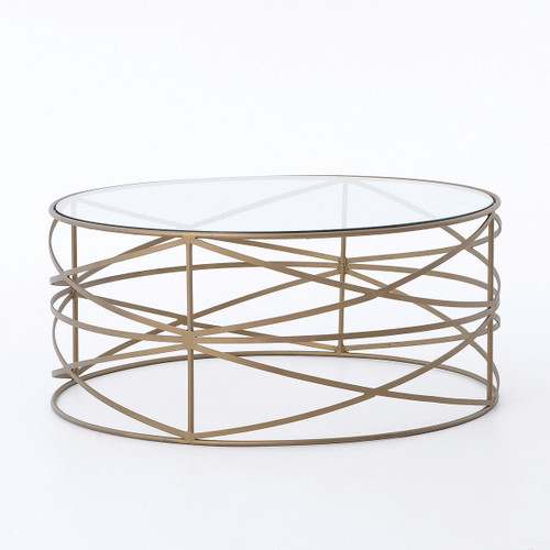 Greer Matte Brass Round Coffee Table with Glass Top