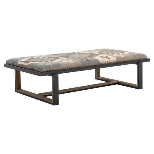 Eclectic Iron and Kilim Upholstered Coffee Table Ottoman, House and Home