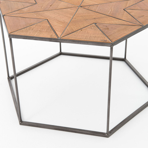 Bronson Reclaimed Wood And Metal Hexagonal Coffee Table