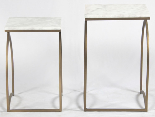 black and white bedroom matte brass and white marble nesting tables zin home 14561