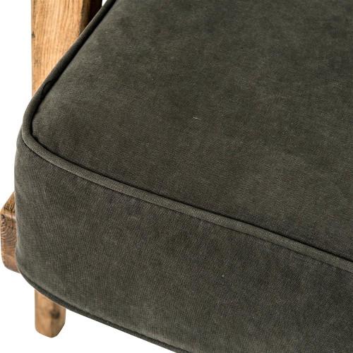 Mid Century Modern Dark Green Upholstered Oak Club Chair