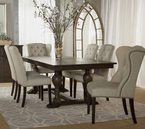 Andrea French Country Tufted Sand Long Dining Bench Banquette: Maison Tufted Wingback Hostess Dining Chair